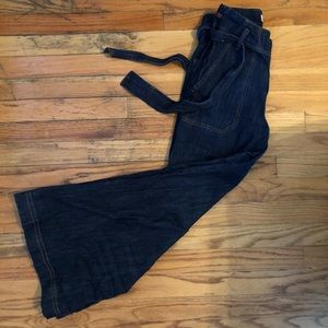 High-waisted Bell Bottom Jeans with a tie waist